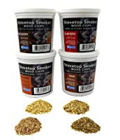Wood Smoking Chips - Oak, Cherry, Hickory, and Alder Wood Smoker Value Pack - Set of 4 Resealable Pints by Camerons Products