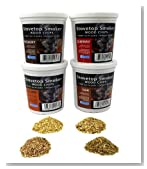 Oak, Cherry, Hickory, and Alder Wood Smoking Chips- Wood Smoker Chips Value Pack- Set of 4 Resealable Pints