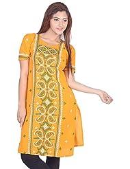 Aabarani Women's Hand Work Semi Stitched Cotton Kurta (ABKU012,Yellow)