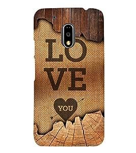 Love You Cute Fashion 3D Hard Polycarbonate Designer Back Case Cover for Motorola Moto G4