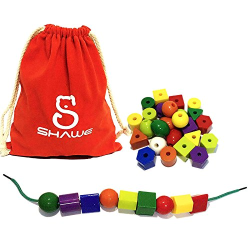 30-Jumbo-Lacing-BeadsStringing-Bead-Set-for-ToddlersInclude-3-Strings-Carrying-Nice-SHAWE-Bag-Montessori-Toys-for-Fine-Motor-Skills-Autism-OT