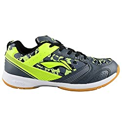 Brand New Pair Of Li Ning Badminton Shoes Camo Star (UK 4) Dark Grey Lime