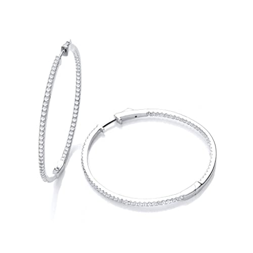 J-JAZ Sterling Silver Micro Pave Big Round Hoop Cubic Zirconia Earrings