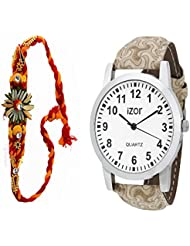 Gift For Boys, Men, Bro, Brother, Rakhi Gift, White Dial Analogue Casual Wear Watch With Free Rakhi (Rakhi Designs... - B01K7N7YDA