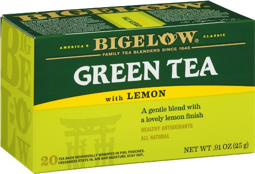 Bigelow Green Tea with Lemon, 20-Count Boxes (Pack of 6)