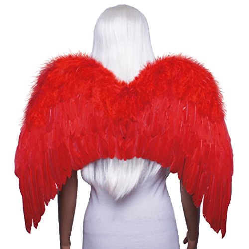 FashionWings (TM) Red Classic Style Costume Feather Angel Wings and Mask.