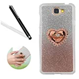 Leecase Luxury Creative Diamond Love Heart Ring Kickstand Pattern Gradient Color Bling Shiny Sparkle Soft Rubber Bumper Protective Case Cover for Samsung Galaxy A7 2017