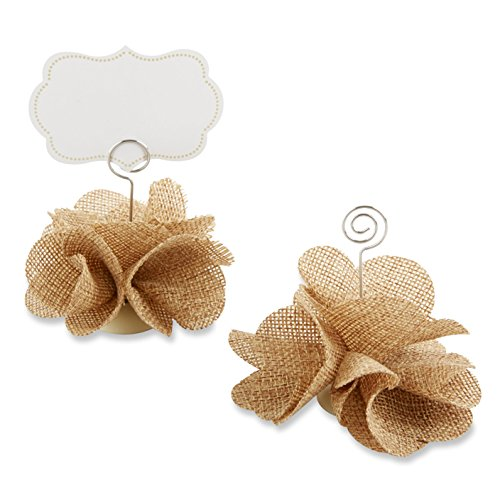 Kate Aspen Burlap Rose Place Card Holder (Set of 6)