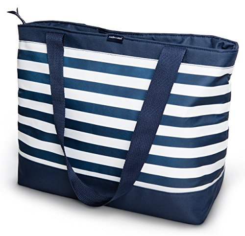 Freddie and Sebbie Collapsible Cooler Bag, Insulated Lunch Cooler, Perfect Size For The Beach, Picnic, Outdoor, Sports, Hiking, Camping or Grocery Cooler - Navy Blue & White (Collapsible Cooler Waterproof compare prices)