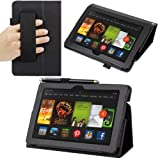 Evecase SlimBook Leather HandStrap Folio Stand Case Cover for Kindle Fire HDX 7'- Amazon 7 inch HDX Display Tablet ( Black )
