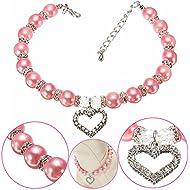 [Free Shipping] Pet Dog Crystal Heart Charm Pendant Pearls Necklace Collar Pink // Mascota perro de cristal perlas del encanto del corazón colgante de collar de color rosa