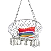 Hi Suyi Hanging Rope Hammock Lounger Chair Macrame Porch Swing for Indoor Outdoor Home Bedroom Patio Deck Yard Garden,Include Hooks No Ceiling Mount Set