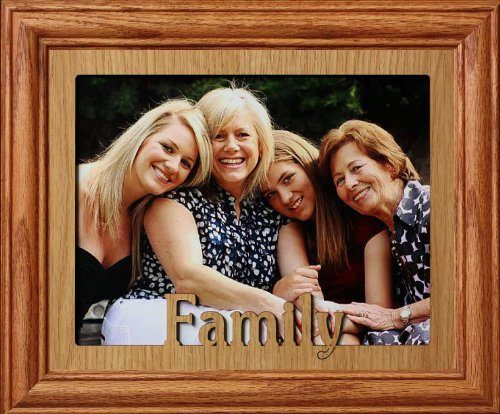 8x10 FAMILY Landscape Picture/Photo Laser Name Frame ~ Fruitwood Stained Oak Frame (Family Name Frame compare prices)