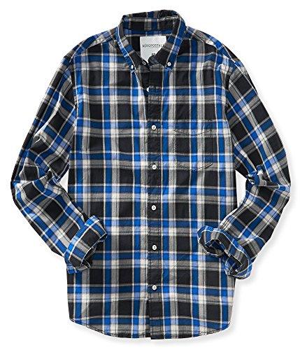 (エアロポステール)AEROPOSTALE 長袖シャツ Long Sleeve Poplin Plaid Woven Shirt ブルー ×ブラック Blue Black 【並行輸入品】