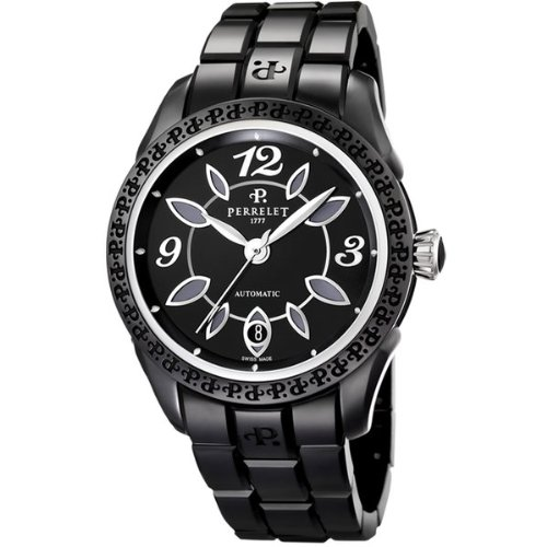 Womens Perrelet Eve Black Ceramic Watch A2041/B