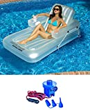 "New Swimline 9052 71"" Swimming Pool Inflatable Tub Lounger w/ 12 Volt Air Pump"