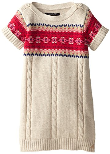 Nautica Little Girls' Woven Short Sleeve Fairisle Sweater Dress With Cableknit Detail, 3T