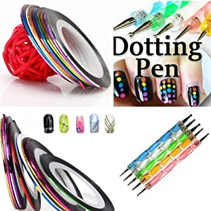 350buy 5 X 2 Way Marbleizing Dotting Pen Set for Nail Art Manicure Pedicure+10 Color Rolls Nail Art Decoration Striping Tape