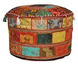 Traditional Decorative Ottoman Comfortable Floor Cushion Foot Stool Embellished With Embroidery & Patchwork, 58 X 33 Cm