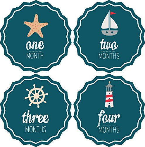 Pinkie Penguin Baby Monthly Stickers - Nautical Theme - Milestone Onesie Stickers - 1-12 Months - Baby Shower Gift