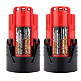 COCO-VISION 2 Pack New High Quality Milwaukee 48-11-2401 M12 RED LITHIUM 12-volt Cordless Tool Battery 48-59-1812/2510-20/48-59-2401