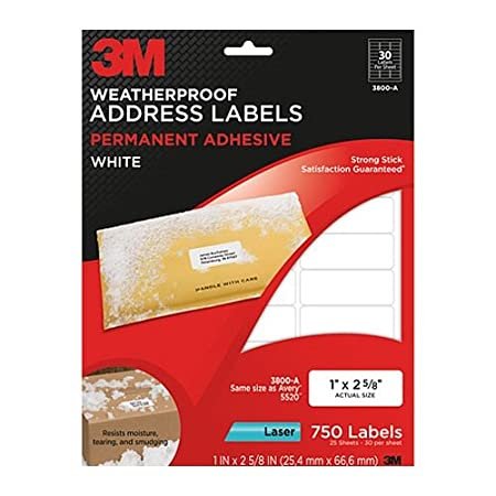 Permanent Adhesive White Weatherproof Address Labels, 1 x 2-5/8, 750 Labels/Pack