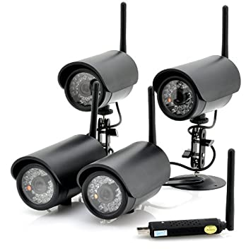 4 Wireless Cameras + USB DVR - 4 Channels Simultaneously Displayed, Connect Via USB, Motion Detection
