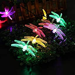 Dragonfly Solar String Lights,Sanmersen Multicolor LED Outdoor Lights, 20 LEDs 16feet 8 Modes Waterproof Fairy Lights with Sensor for Christmas Trees,Garden,Patio,Wedding,Party and Holiday Decorations