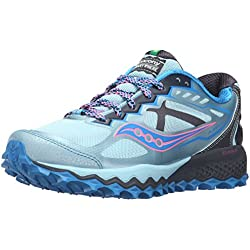 Saucony Women's Peregrine 6 Trail Running Shoe, Sky/Blue/Pink, 8 M US