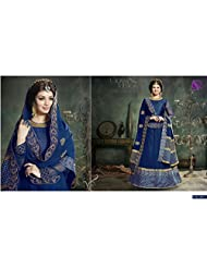KMOZI Blue Embroidered Floor Touch Blue Anarkali Suit