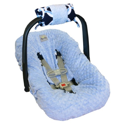 Itzy Ritzy Ritzy Wrap Infant Car Seat Handle Cushion, Social Circle Blue