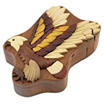 Eagle Handmade Carved Wood Intarsia Puzzle Box