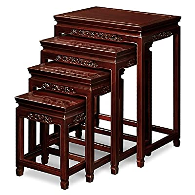 Rosewood Dragon Motif Nesting Tables Dark Cherry Snbz2h