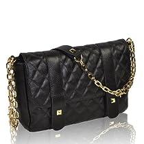 Hot Sale Motony Ladies Celebrity Real Leather Quilted Quilt Chain Bag Handbag Tote Shoulder Bag Black