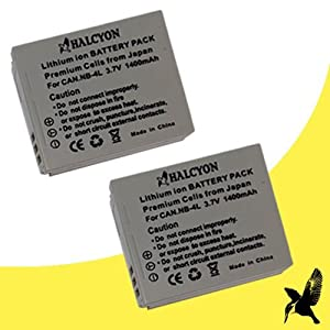Two Halcyon 1400 mAh Lithium-Ion Extended Replacement Batteries for Canon NB-4L and Canon PowerShot Elph 330 HS, Elph 100 HS, 300 HS, 310 HS, SD1000, SD1100 IS, SD1400 IS, SD200, SD300, SD40, SD400, SD430, SD450, SD600, SD630, SD750, SD780 IS, SD940 IS, SD960 IS, TX1 Digital Cameras