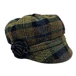 Irish Tweed Cap Women 100% Wool Green Plaid