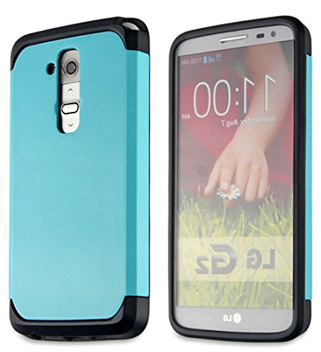 Mylife Light Aqua Blue {Hard Shell Design} 2 Layer Neo Hybrid Case For The For The Lg G2 Smartphone (External Rubberized Hard Safe Shell Piece + Internal Soft Silicone Flexible Bumper Gel) front-348532