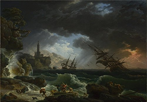 'Claude Joseph Vernet A Shipwreck In Stormy Seas ' Oil Painting, 20 X 29 Inch / 51 X 73 Cm ,printed On High Quality Polyster Canvas ,this High Definition Art Decorative Prints On Canvas Is Perfectly Suitalbe For Powder Room Decor And Home Gallery Art And Gifts