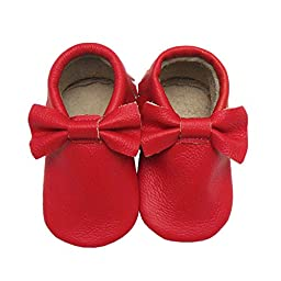 Sayoyo Baby Red Bow Tassels Soft Sole Leather Infant Toddler Prewalker Shoes (12-18 Months/6-6.5 M US Toddler, Red)
