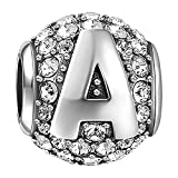 SOUFEEL New Letter A Charms Swarovski 925 Sterling Silver Charms For Bracelets Necklaces Letters Series Valentine's Day Gift