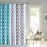 90° By Design Lab Dani Printed Shower Curtain And Hook Set - Teal - 72x72""