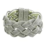 Silvertone Mesh Magnetic Bangle Bracelet Fashion Jewelry