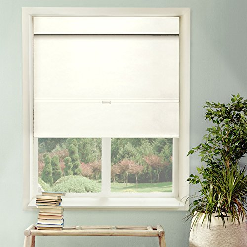 Chicology Cordless Magnetic Roman Shade, Privacy Fabric, Thermal, Mountain Snow, 35
