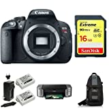 Canon EOS Rebel T5i Digital SLR Camera (Body Only) + PIMXA Pro 100 Printer - Photo Paper - Memory Card - Bag and Battery