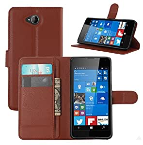 Taslar Leather Wallet Magnetic Clip Stand Flip Back Cover Case For Microsoft Lumia 650 (Brown)