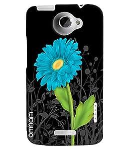 Omnam Blue Flower With Black Base Printed Designer Back Cover Case For HTC One X