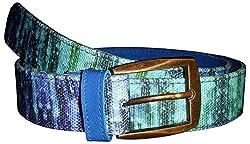 Jajv Women's Canvas Belts (VJ Drops, Blue, M)