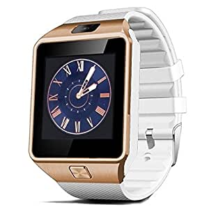 Aipker Touch Screen Bluetooth SmartWatch Phone with Camera SIM TF Card Slot Compatible All Android Smart Phones Black Gold/White
