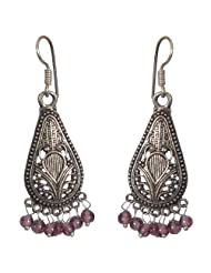 Royal And Classy Pear Shaped Oxidized Wine Color Earrings For Women