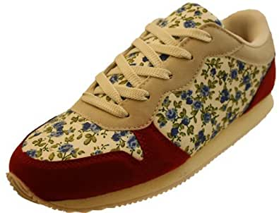 Ladies Floral Trainers Faux Suede Cotton Summer Gym Shoes Standard Fit 4E